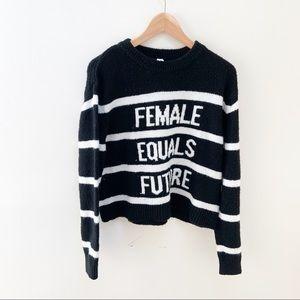 Divided striped graphic sweater female = future S